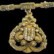 "DeNICOLA's Regal Rhinestone Shield Brooch ""The Real Look"" Collection circa 1950's"