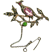 Outstanding Continental Silver 'n Paste Rare Figural Brooch w/ Marcasites c.1900