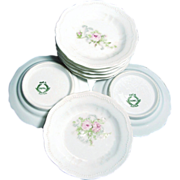 Set of 6 Ornate Pink ROSES BUTTER PATS - Austrian Porcelain c.1900