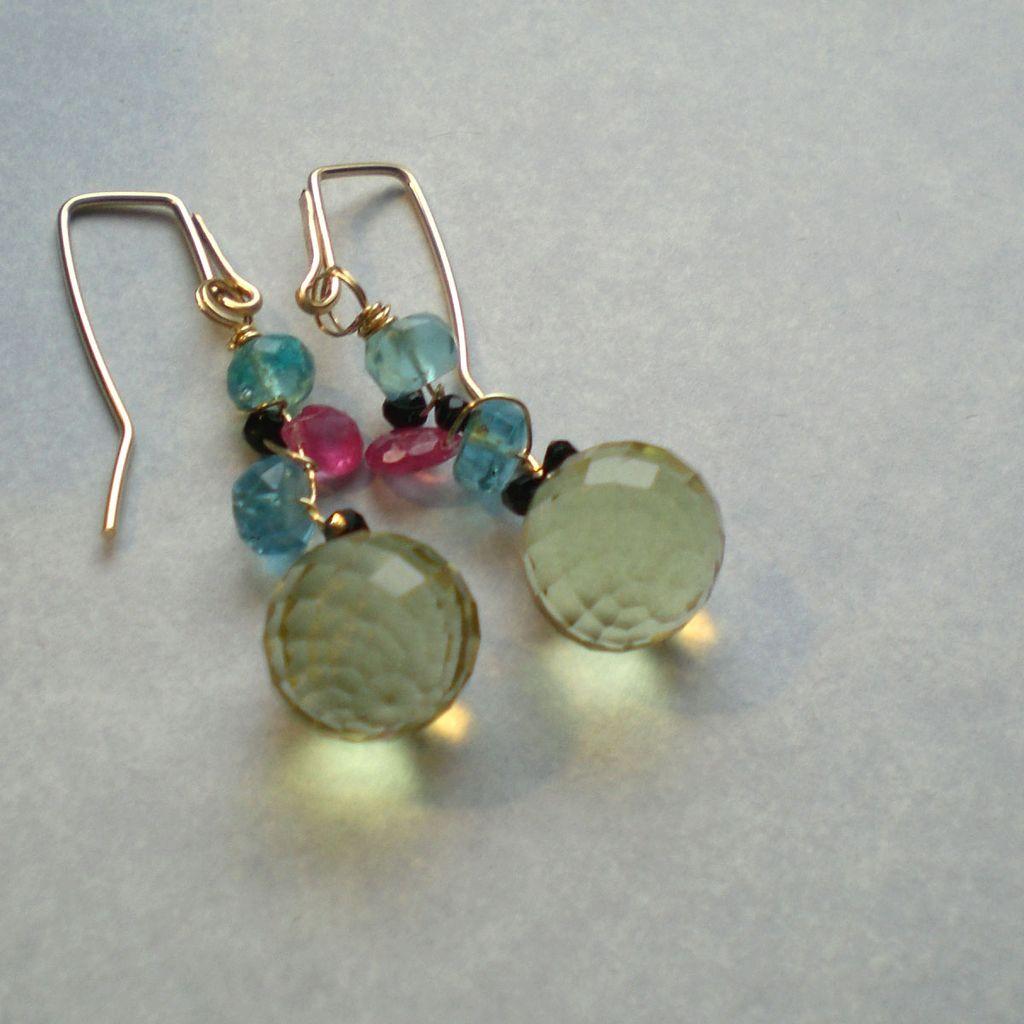 Lemon Quartz with Apatite Gemstone Earrings