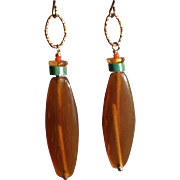 Horn Earrings with Turquoise, Amber and Coral Gems
