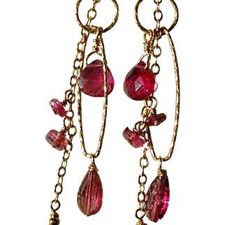 Pink Tourmaline Gemstone Earrings with 14k Gold Fill