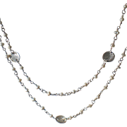 Sterling Silver and White Freshwater Cultured Pearl Long Chain Necklace
