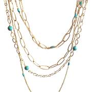 Set of 3 Layering Chain Necklaces with Turquoise Gems