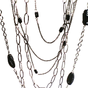 Set of 3 Layering Chain Necklaces with Black Tektite Gems