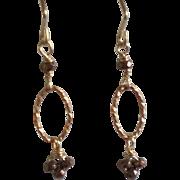 Petite Pyrite Gem Earrings with Bronze
