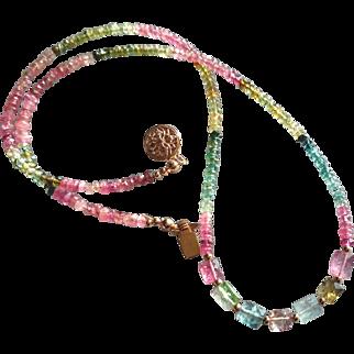 Tourmaline Gemstone Necklace, Pink and Green