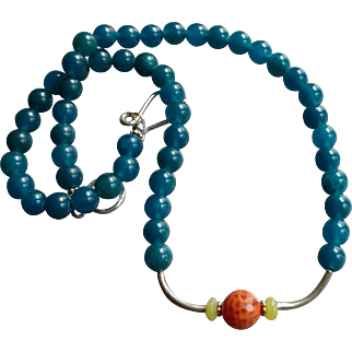 Opaque Teal Apatite Gem Necklace with Sterling Silver