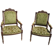 Pair of French Antique Carved Chairs Armchairs Antique Furniture!