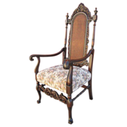 Antique Bishop's Throne Cane Back Chair Armchair Antique Furniture