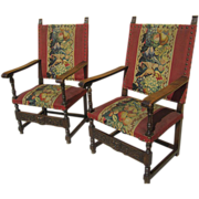 Antique Furniture Pair of French Antique Needlepoint Chairs Armchairs!