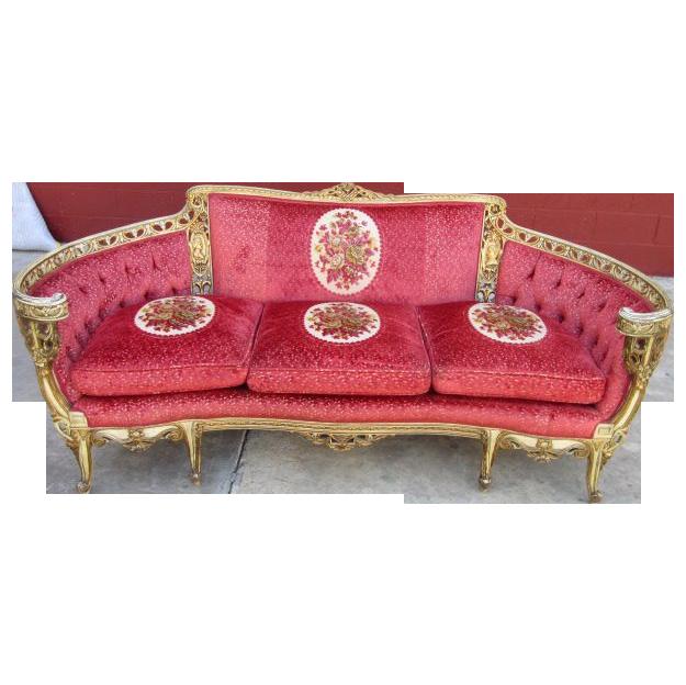 Stunning Vintage Carved Sofa Couch Loveseat Settee Vintage Furniture