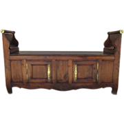 Antique French Provincial Walnut Hall Bench