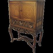 Vintage Carved Secretary Desk Cabinet