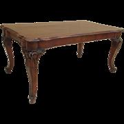 Vintage Italian Carved Walnut Dining Table