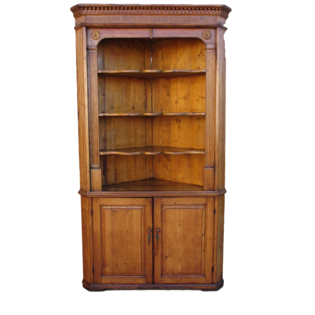 Antique Pine Corner Cabinet  Hutch Antique Furniture