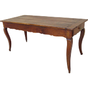 French Antique Walnut Dining Table Farm Table With Drawer Writing Table