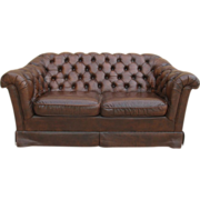 English Leather Chesterfield Sofa Vintage Couch Vintage Furniture