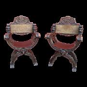 Italian Antique Savonarola Chairs with Leather Antique Furniture
