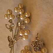 Faux Pearls & Clear Rhinestones in Silver-Tone Demi-Parure