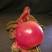 SOLD Chalkware String Holder in shape of Apple and Berries