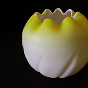 Victorian Yellow Satin Glass Rose Bowl