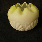 "Consolidated Glass Co. Yellow Satin Glass ""Shell & Seaweed"" Rose Bowl"