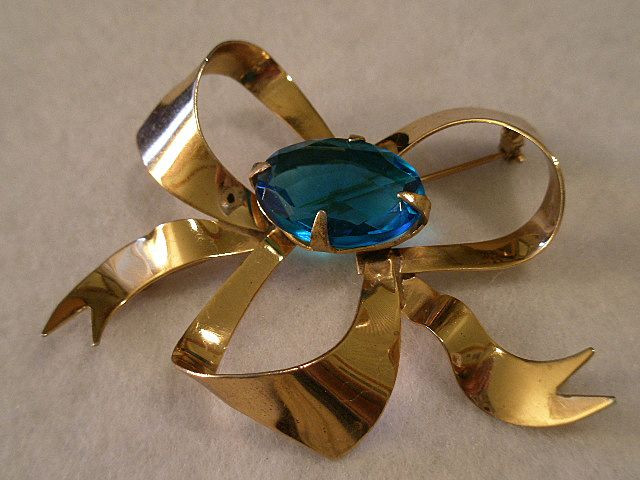 Sterling Silver & Gold Vermeil Bow-Shape Brooch w/Faux Sapphire Setting