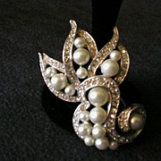 Ledo Silver-Tone Scroll Brooch encrusted w/Faux Pearls & Clear Rhinestones