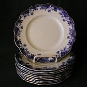 """SOLD Set of 10 - John Maddock & Sons Flow Blue """"Linda"""" Pattern Salad/Dessert Plates"""