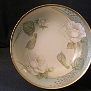 R.S. Germany (Green Mark) Serving Bowl w/White Tea Roses Decoration