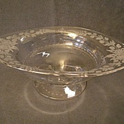 """""""Hawkes"""" Copper-Wheel Engraved """"Garland of Roses"""" Design Crystal Compote"""