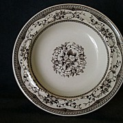 "Set of 2 - George Jones Brown Transfer-ware ""Brighton"" Pattern Soup Bowls"