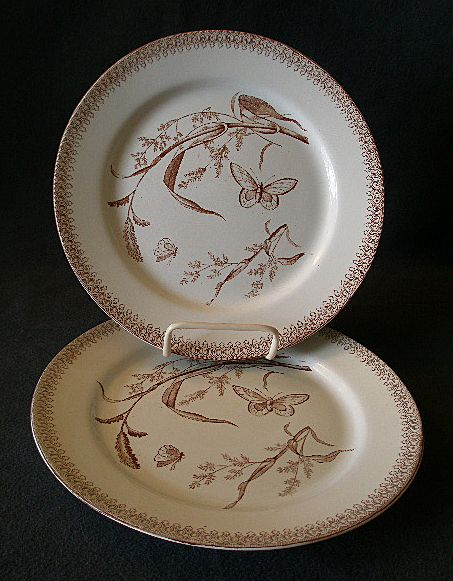 "Set of 2 - T & R Boote Aesthetic Movement Brown Transfer-ware ""Summer Time"" Pattern Luncheon Plates"