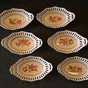 "Set of 6 Schumann Bavaria ""Rhineland"" Pattern Individual Candy/Nut Baskets"