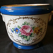 SOLD Trenton Art China Jardiniere w/ Colorful Floral Motif
