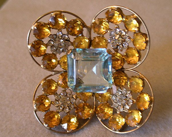 """Fred A Block"" Dimensional Brooch w/Aquamarine, Topaz & Diamond Rhinestones"