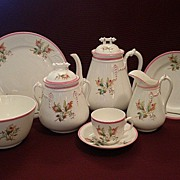 "1870's Unmarked Porcelain ""Moss Rose"" 24-Piece Luncheon/Dessert Set"