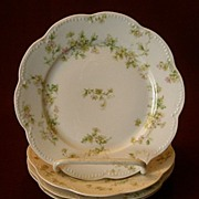 "Set of 4 Haviland & Co. Limoges ""Green & Pink Floral"" Bread & Butter Plates - Schlei"