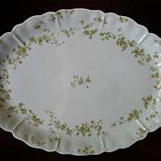 "Haviland & Co. ""Green & Pink Floral"" Medium Size Oval Platter - Schleiger #74A"