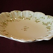 "Haviland & Co. ""Green & Pink Floral"" Round, Open Serving Bowl - Schleiger #74A"