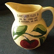 "Watt Pottery ""#62 Apple - 3 Leaf"" Pattern Pitcher w/Long Lake & Wetokka S.D. Advertising"