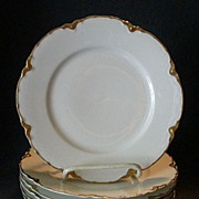 "Set of 6 Haviland & Co. Limoges ""Ranson w/Gold"" Salad Plates, Blank #1"