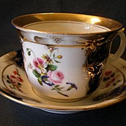 SOLD Dresden Style Large Cup & Saucer w/Cobalt Blue, Gold & H.P. Floral Decoration