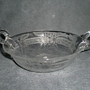 "Copper-Wheel Engraved ""Floral"" Design Serving Bowl w/Handles, Unsigned"