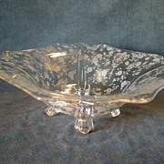 """Cambridge Etched Glass """"Rose Point"""" Pattern Square 4-Toed Bowl"""