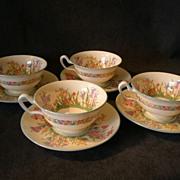 "Josiah Wedgwood & Sons ""Prairie Flowers"" Pattern Footed Cups & Saucers - Set of 4"