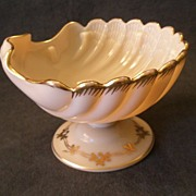 """Cambridge Crown Tuscan """"Sea Shell"""" Footed Compote w/Gold Decoration"""