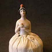 "Germany China Half-Doll ""1920's Flapper"" Attached to Pincushion"
