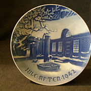 "Bing & Grondahl 1942 Christmas Plate - ""Danish Farm on Christmas Night"""